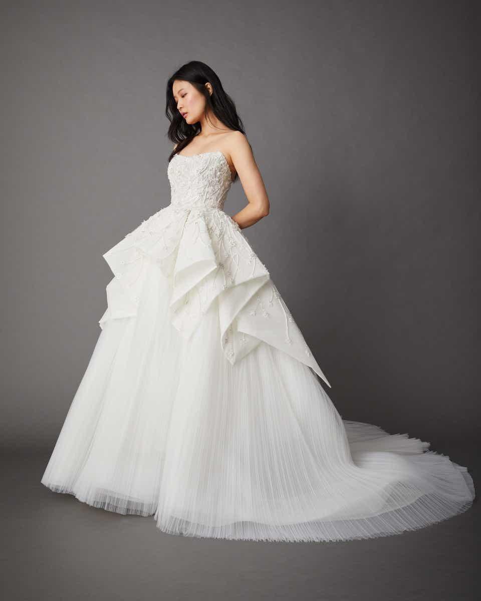 strapless white dress with peplum by allison webb