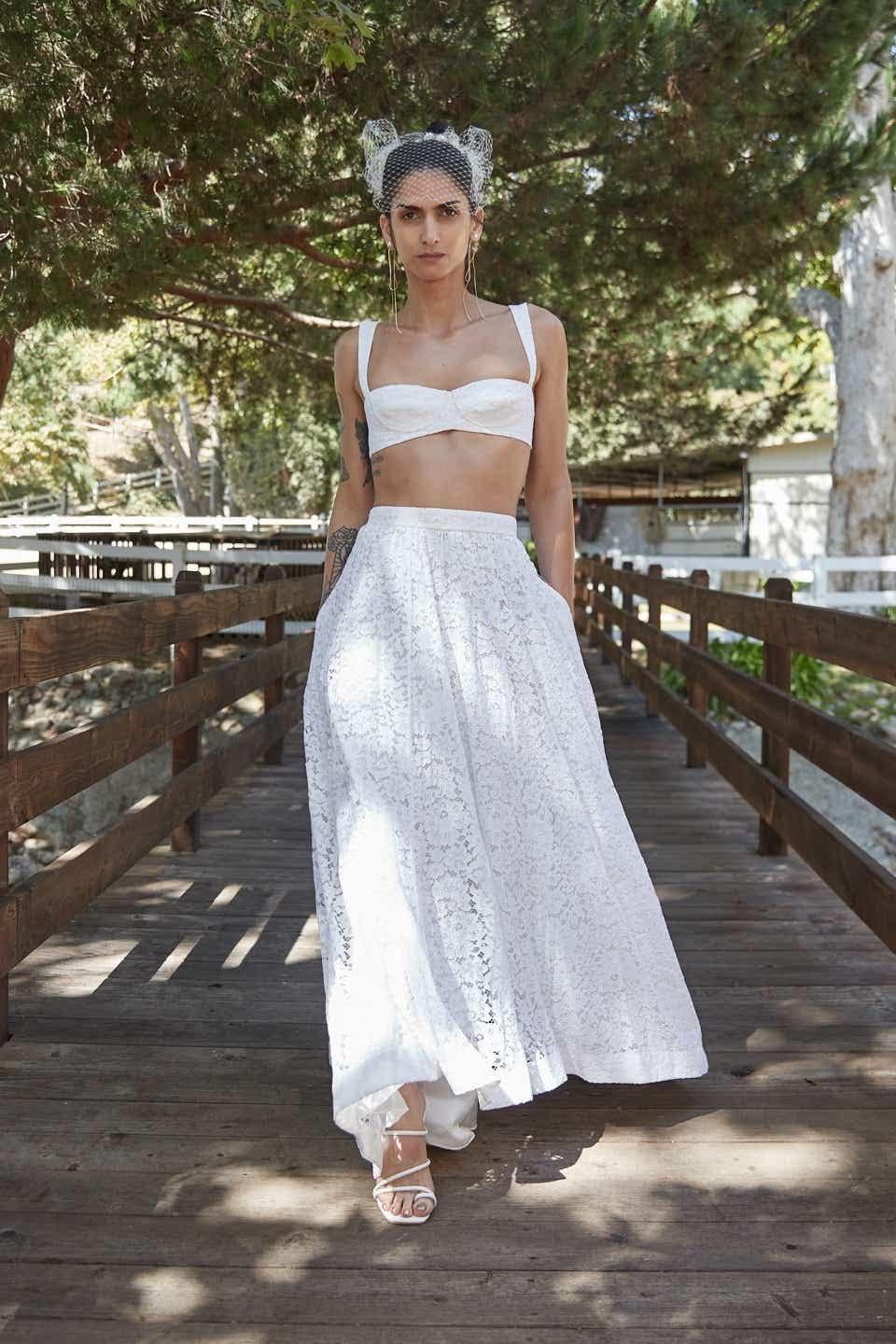 white crop top and maxi skirt by katharine polk